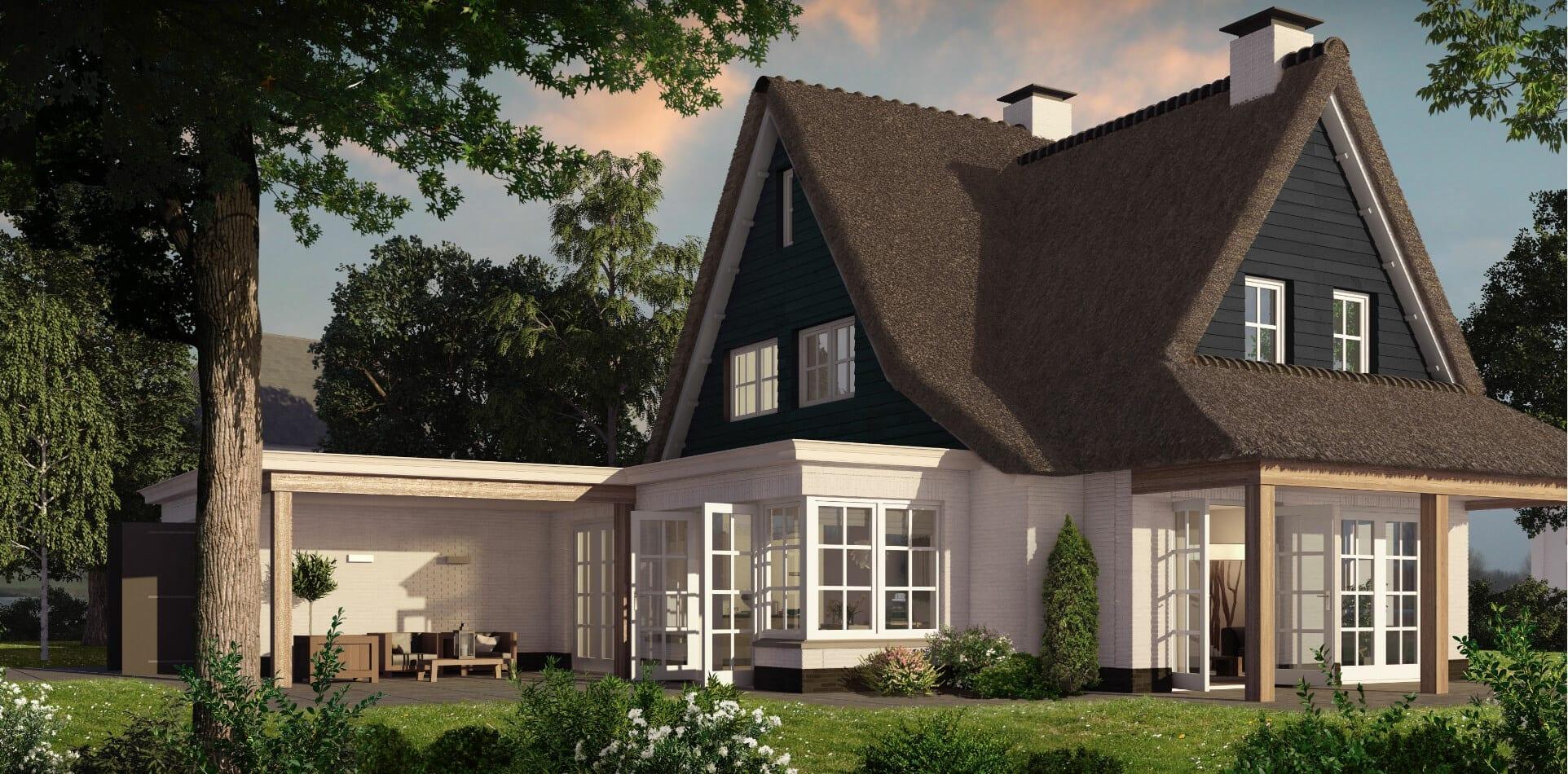 Luxe villa met rieten dak
